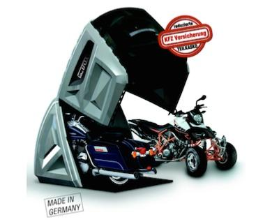 abri antivol moto bikebox 24 tout droit venu de l 39 espace. Black Bedroom Furniture Sets. Home Design Ideas